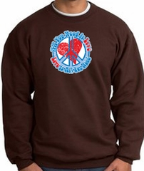 Peace Sign Sweatshirt - All You Need Is Love - Brown