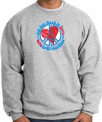 Peace Sign Sweatshirt - All You Need Is Love Heart - Athletic Heather