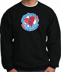 Peace Sign Sweatshirt - All You Need Is Love Heart - Black