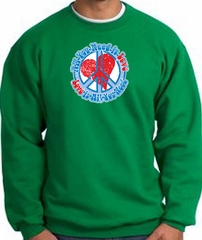Peace Sign Sweatshirt - All You Need Is Love - Kelly Green