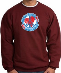 Peace Sign Sweatshirt - All You Need Is Love - Maroon