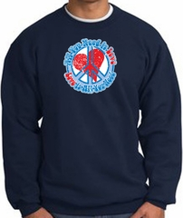 Peace Sign Sweatshirt - All You Need Is Love - Navy