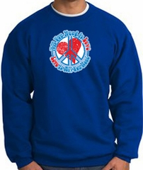 Peace Sign Sweatshirt - All You Need Is Love - Royal