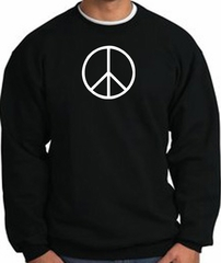 Peace Sign Sweatshirt Basic Peace White Print Sweatshirt Black