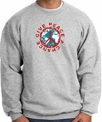 Peace Sign Sweatshirt - Give Peace A Chance - Athletic Heather