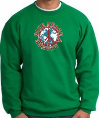 Peace Sign Sweatshirt - Give Peace A Chance - Kelly Green
