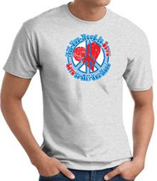 Peace Sign T-shirt - All You Need Is Love Adult Tee - Ash