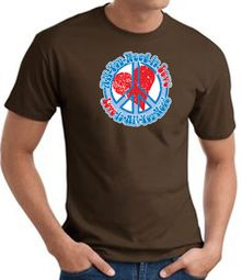 Peace Sign T-shirt - All You Need Is Love Adult Tee - Brown