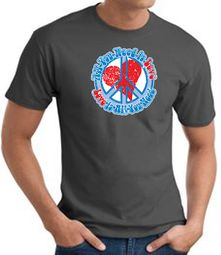 Peace Sign T-shirt - All You Need Is Love Adult Tee - Charcoal