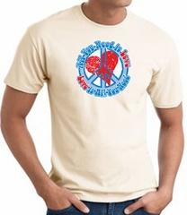 Peace Sign T-shirt - All You Need Is Love Adult Tee - Natural
