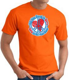 Peace Sign T-shirt - All You Need Is Love Adult Tee - Orange