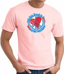 Peace Sign T-shirt - All You Need Is Love Adult Tee - Pink