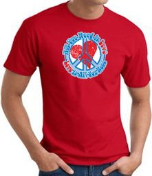 Peace Sign T-shirt - All You Need Is Love Adult Tee - Red