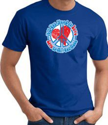 Peace Sign T-shirt - All You Need Is Love Adult Tee - Royal