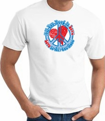 Peace Sign T-shirt - All You Need Is Love Adult Tee - White