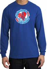Peace Sign T-shirt All You Need Is Love Long Sleeve Tee Royal