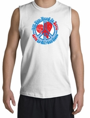 Peace Sign T-shirt All You Need Is Love Muscle Shirt White