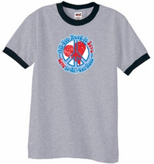 Peace Sign T-shirt All You Need Is Love Ringer Tee Heather Grey/Black