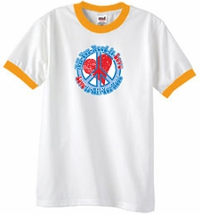 Peace Sign T-shirt All You Need Is Love Ringer Tee White/Gold