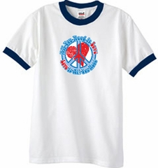 Peace Sign T-shirt All You Need Is Love Ringer Tee White/Navy