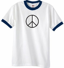 Peace Sign T-shirt Basic Peace Black Print Ringer Shirt White/Navy