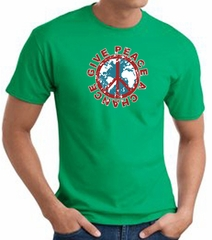 Peace Sign T-shirt - Give Peace A Chance Adult Tee - Kelly Green