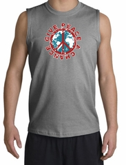 Peace Sign T-Shirt Give Peace A Chance Muscle Shirt Sports Grey