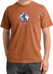 Peace Sign T-shirt Give Peace A Chance Pigment Dyed Tee Burnt Orange