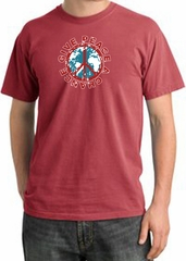 Peace Sign T-shirt Give Peace A Chance Pigment Dyed Tee Dashing Red