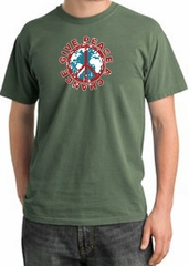 Peace Sign T-shirt Give Peace A Chance Pigment Dyed Tee Olive