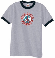 Peace Sign T-shirt Give Peace A Chance Ringer Tee Heather Grey/Black