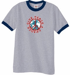 Peace Sign T-shirt Give Peace A Chance Ringer Tee Heather Grey/Navy