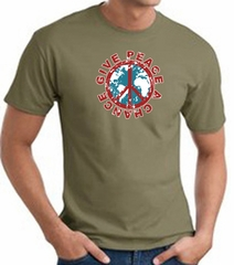 Peace Sign T-shirt - Give Peace A Chance World Adult Tee - Army