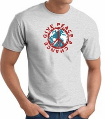Peace Sign T-shirt - Give Peace A Chance World Adult Tee - Ash