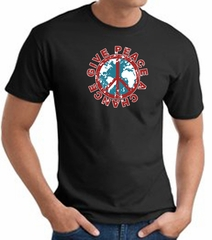 Peace Sign T-shirt - Give Peace A Chance World Adult Tee - Black