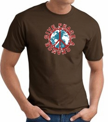 Peace Sign T-shirt - Give Peace A Chance World Adult Tee - Brown
