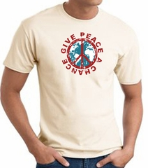 Peace Sign T-shirt - Give Peace A Chance World Adult Tee - Natural