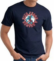 Peace Sign T-shirt - Give Peace A Chance World Adult Tee - Navy