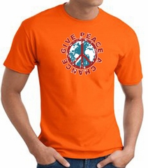 Peace Sign T-shirt - Give Peace A Chance World Adult Tee - Orange