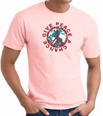 Peace Sign T-shirt - Give Peace A Chance World Adult Tee - Pink