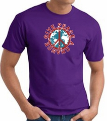 Peace Sign T-shirt - Give Peace A Chance World Adult Tee - Purple