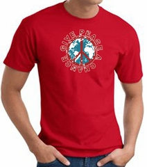 Peace Sign T-shirt - Give Peace A Chance World Adult Tee - Red