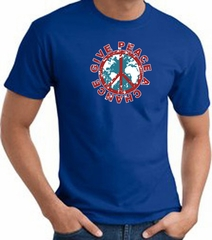 Peace Sign T-shirt - Give Peace A Chance World Adult Tee - Royal