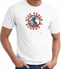 Peace Sign T-shirt - Give Peace A Chance World Adult Tee - White