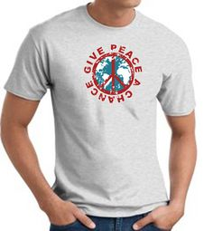 Peace Sign T-shirts - Give Peace A Chance World - Adult