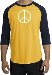 Peace Sign Tee Basic Peace White Print Raglan Shirt Gold/Navy