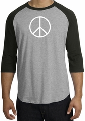 Peace Sign Tee Basic Peace White Print Raglan Shirt Heather Grey/Black