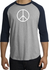 Peace Sign Tee Basic Peace White Print Raglan Shirt Heather Grey/Navy
