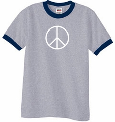 Peace Sign Tee Basic Peace White Print Ringer Shirt Heather Grey/Navy