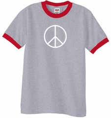 Peace Sign Tee Basic Peace White Print Ringer Shirt Heather Grey/Red